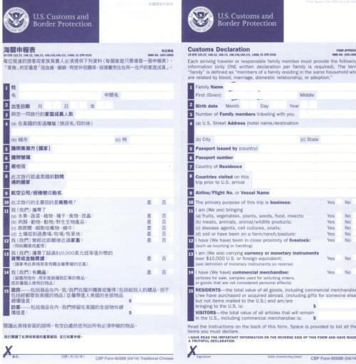 填写赴美生子海关申报表的时候有哪些注意事项
